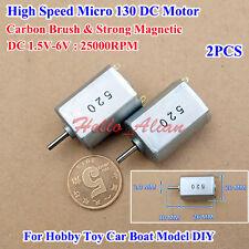 2PCS DC 1.5V-6V 25000RPM  Mini 130 Motor  High Speed Strong MagneticToy Car Boat