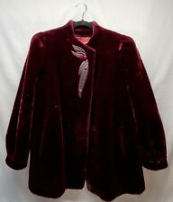 Vintage 70s Sasson Coat Faux Fur Deep Pile with Embroidery Union Made Red Black