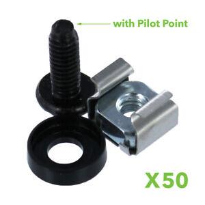 M5 Cage Nuts & Screws for Server Shelves Cabinets - 50 Pk Rack Mount