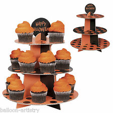 3-Tier Happy Halloween Black Orange Polka Dots Card Cake Cupcake Stand
