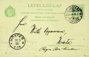HUNGARY 1900 5f ST. STEPHEN'S CROWN POSTAL CARD FROM BUDAPEST TO HOXTER GERMANY