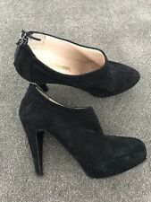 RUSSELL AND BROMLEY VERO CUOIO BLACK SUEDE HIGH HEELS - SIZE UK 4 EU 37