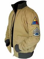 Mens Fury Brad Pitt US Army Tanker WW2 Style Military Khaki Bomber Cotton Jacket