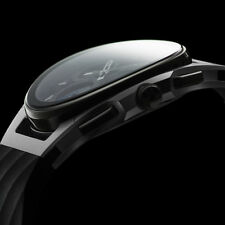 New In Box Bulova 98A161 Men's Chronograph Curv Black Rubber Strap Watch 44mm