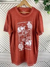 LUCKY BRAND Mens Burnout Henley T Shirt Skull Graphic Orange Size Large