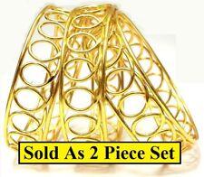 2 Piece Set 18k Gold Bracelets Bangle Wide Twist Loop Design Elegant D430