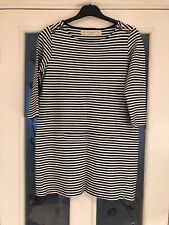 Ladies Clothes Size Medium Zara Black White Striped Tunic Long Top (517)