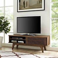 "Mid-Century Modern Walnut Wood Low Profile 48"" TV Stand Media Center Console"