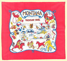 Vtg Style MONTANA MT State Souvenir Flour Sack Kitchen Dish Tea Towel Treasure