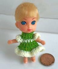 "Clothes for Tiny 2 3/4"" Mattel Kiddles Doll Green/Yellow Dress OOAK Lot MK12 USA"