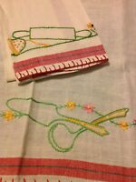2 Vintage Kitchen Towels, Stevens Pure Linen, Red Bands and Embroidery