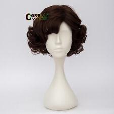 Dark Brown Curly Short Wig for Sherlock Season 4 Sherlock Anime Cosplay Wig +Cap