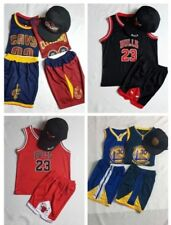 Kids Cap Basketball Chicago Bulls Golden State Cleveland NBA Jersey Top+Short 23