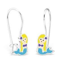bébés filles 925 argent sterling bleu sirène Boucles d'oreilles pendantes paire