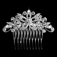 Women Wedding Sparkling Crystal Flower Floral Hair Comb Hair Clip Bridal Jewelry
