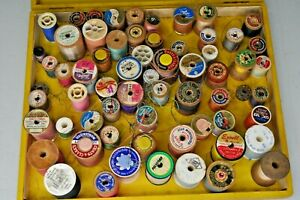 Lot 50+ Vintage Sewing Threads in NECCHI ELNA Wooden Box Wooden Spools Clarks