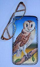 OWL BARN WILD LIFE BIRD NEOPRENE GLASSES CASE POUCH  SANDRA COEN ARTIST PRINT