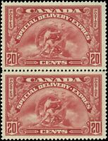 Canada Mint H/NH 1935 VF Scott #E6/E6i (Dot in 2) Pair 20c Special Del Stamp