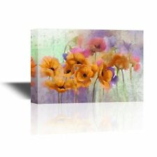 wall26 - Canvas Wall Art - Watercolor Style Colorful Flowers - 16x24 inches