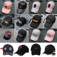 Unisex Women Snapback Adjustable Embroidery Baseball Cap Iron Ring Hip Hop Hat
