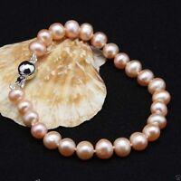 """Natural 7-8mm Pink Akoya Cultured Pearl Bracelet 7.5""""J15"""