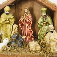 Wood Nativity Creche Ceramic Figurines Traditional Hand Painted  4 x 6""
