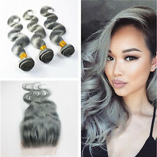 "Grey Ombre Remy Brazilian Virgin Human Hair Body Wave Bundles 18""20""22&14Closure"