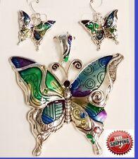 """Big Enamel Rainbow Butterfly Wing Sun Pendant Earrings Necklace + 23"""" Long Chain"""
