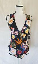 Guess Wild Flora Print Jenny Thong Bodysuit Size XL New