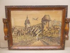 Plateau Pyrogravure peint *Alsace* vin* Cigogne* signé  BOLI