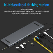 10-in-1 USB 3.0 Port Docking Station Type-c To HDMI VGA RJ45 HUB FOR MACBOOK PRO