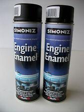 2 Simoniz Motorcycle Matt Black Engine Enamel & Case Paint Yamaha Honda Suzuki