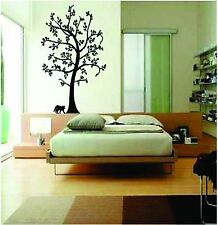 Birds in large tree with cat  vinyl wall decal