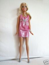 Blonde Barbie Doll in Pink Dress with shoes and comb Set