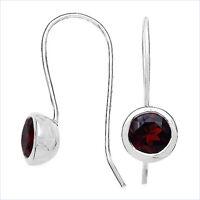 Echte Granat-Ohrringe/Ohrhaken-Silber Rhodiniert-3,20 Karat