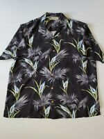 Tommy Bahama Black Floral Hawaiian  Short Sleeve Button Down Shirt XL