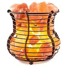 Natural Himalayan Salt Wire Mesh Basket Vase Lamp with Cord