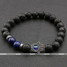 8mm Lava Rock Stone Lapis Lazuli Spacer Bead Hamsa Hand Evil Eye Bangle Bracelet