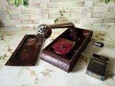 "Vintage rare USSR mini GRAMOPHONE PHONOGRAPH Record Player small 1930""-1940""(EX)"