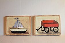 Red Wagon & Blue Sailboat 2 Canvas Pictures for Boy's Room Wall Decor EUC