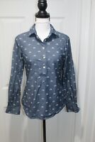 Vineyard Vines Blue Chambray Embroidered Button Front TUNIC Top Blouse Size 00