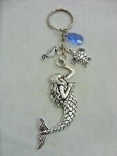 A Silver Tone Large Mermaid Seahorse Turtle Blue Sea Key Chain Handbag Bag Charm