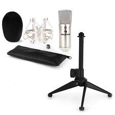 auna USB Kondensator Studio Mikrofon Set Spinne Tischständer Tasche silber
