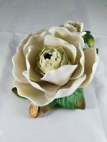 "White Green Brown Blooming LOTUS FLOWER Ceramic Home Decor 6.5"" X 5"" X 4"""