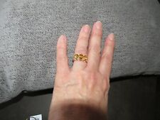 CITRINE LARGE TRILOGY RING - SIZE T - 3.500CTS - STERLING SILVER 925