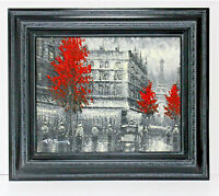 Champs Elysees Cityscape 16 x 20 Oil Painting on Canvas w/ Custom Frame