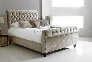 Royal Swan Sleigh Bed Crushed Velvet Any Size Available In Black, Silver 4'6 5ft