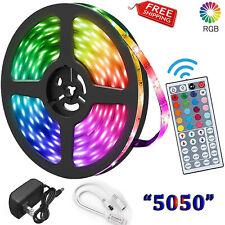 "5M 16.4ft ""5050"" Rgb Led Strip Light For Diy Decoration In Box With Remote+Power"