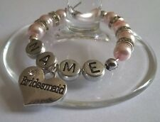 Personalised BRIDESMAID Wine Glass Charm, Handmade with Diamante Rondelle Spacer
