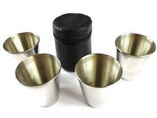 4 x  Schnapsgläser 30 ml Schnapsbecher-Set aus Metall Etui aus Kunstleder